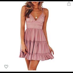 Pink ruffle open back dress